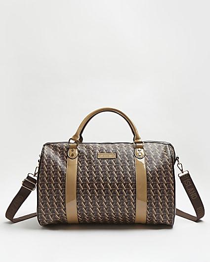 Brown geometric print barrel bag