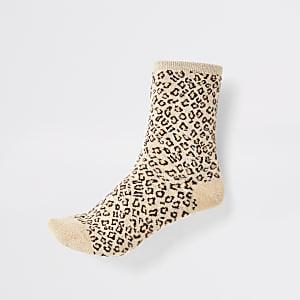 Braune Sneakersocken mit glitzerndem Leopardenprint