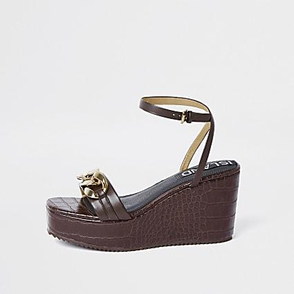 Brown gold chain detail wedge heels