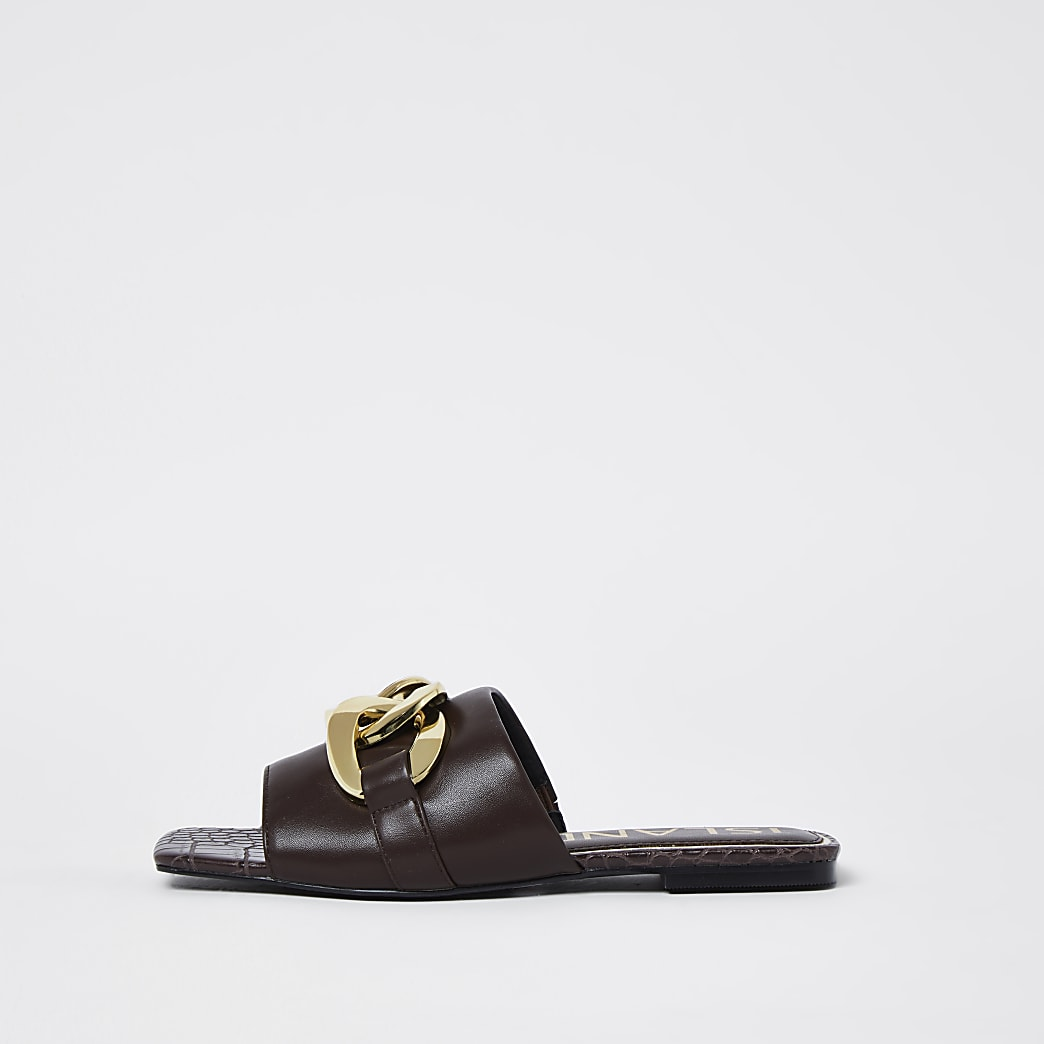 Brown gold chain flat sliders
