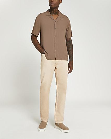 Brown graphic back print shirt