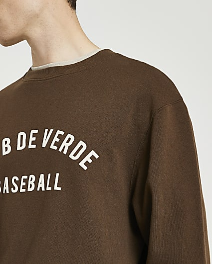 Brown graphic crew neck sweatshirt