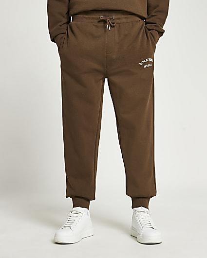 Brown graphic regular fit joggers