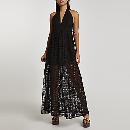 Brown halter neck lace maxi dress