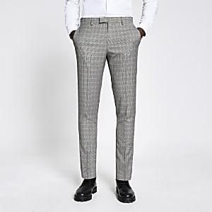 Bruine skinny-fit pantalon met vintage ruit