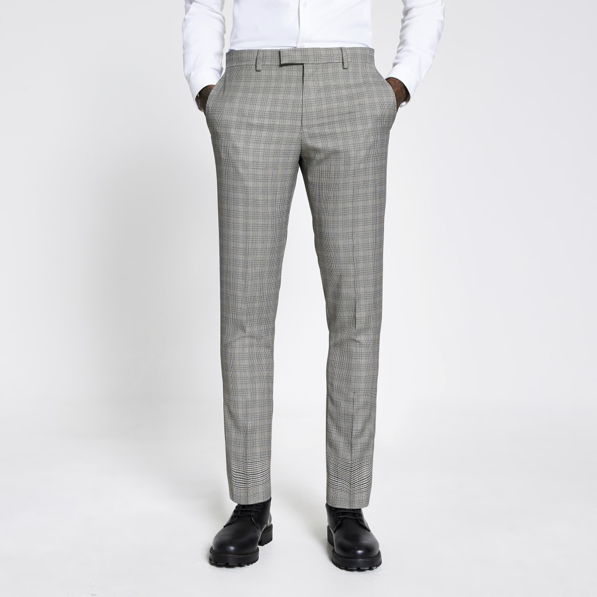 Brown heritage check skinny fit suit trousers
