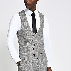 Braune Slim Fit Anzugsweste mit Heritage-Karomuster