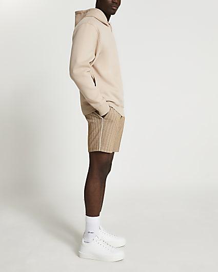 Brown herringbone pull on shorts