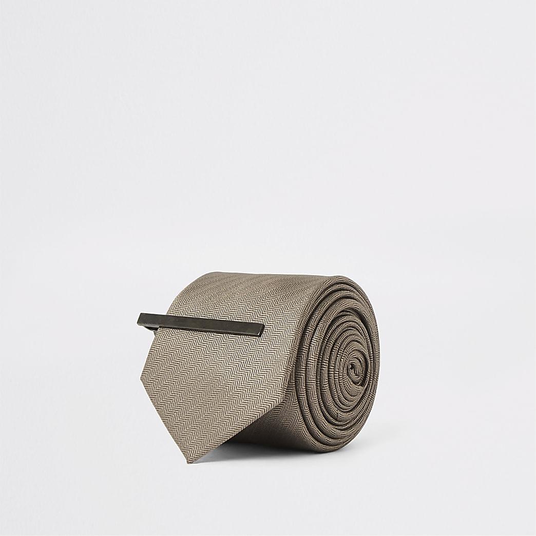 Brown herringbone tie