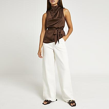 Brown high neck tie detail sleeveless top