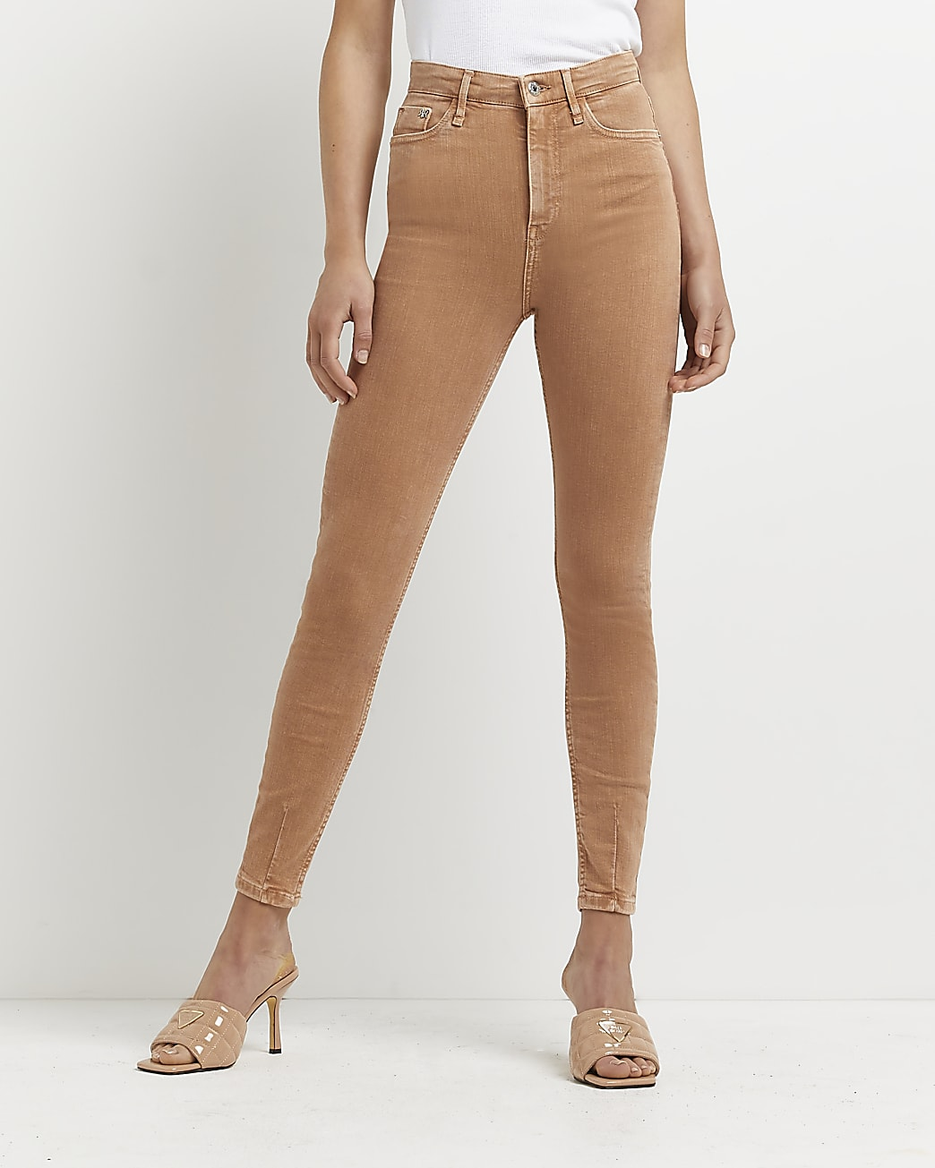 Brown high waisted skinny jeans