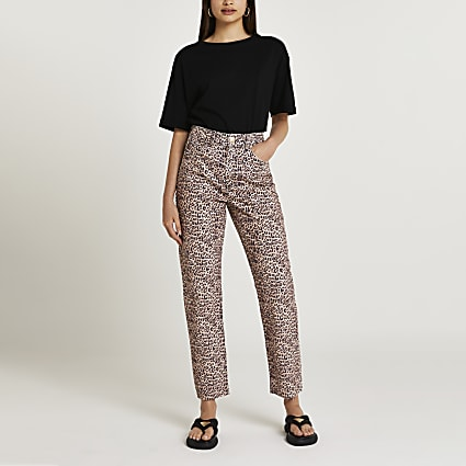 Brown high waisted straight jeans