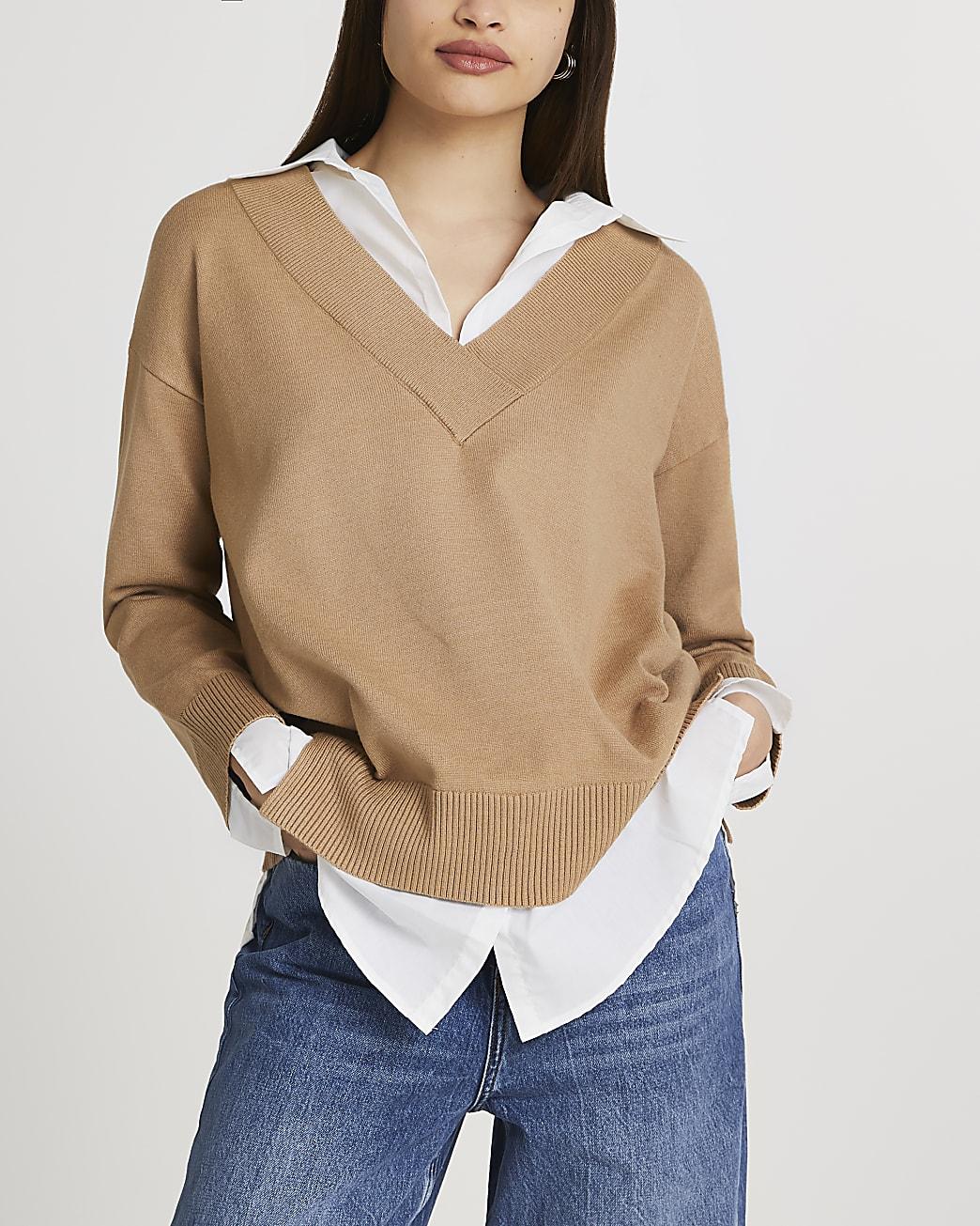 Brown hybrid shirt jumper