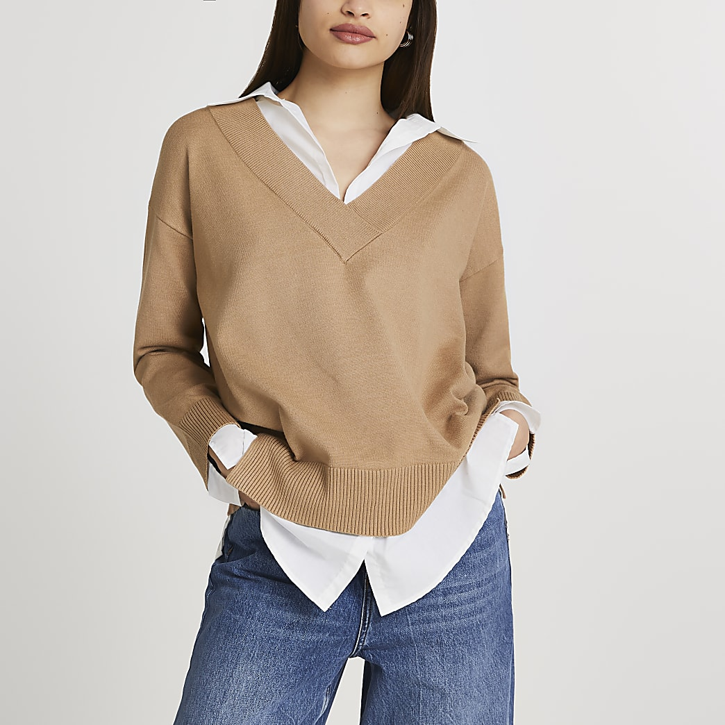 Brown hybrid shirt jumper