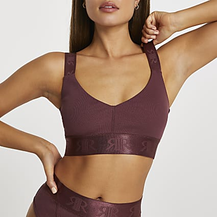 Brown Intimates rib crop top
