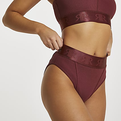 Brown Intimates rib knickers