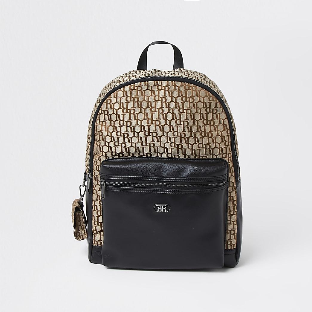 Brown jacquard monogram backpack
