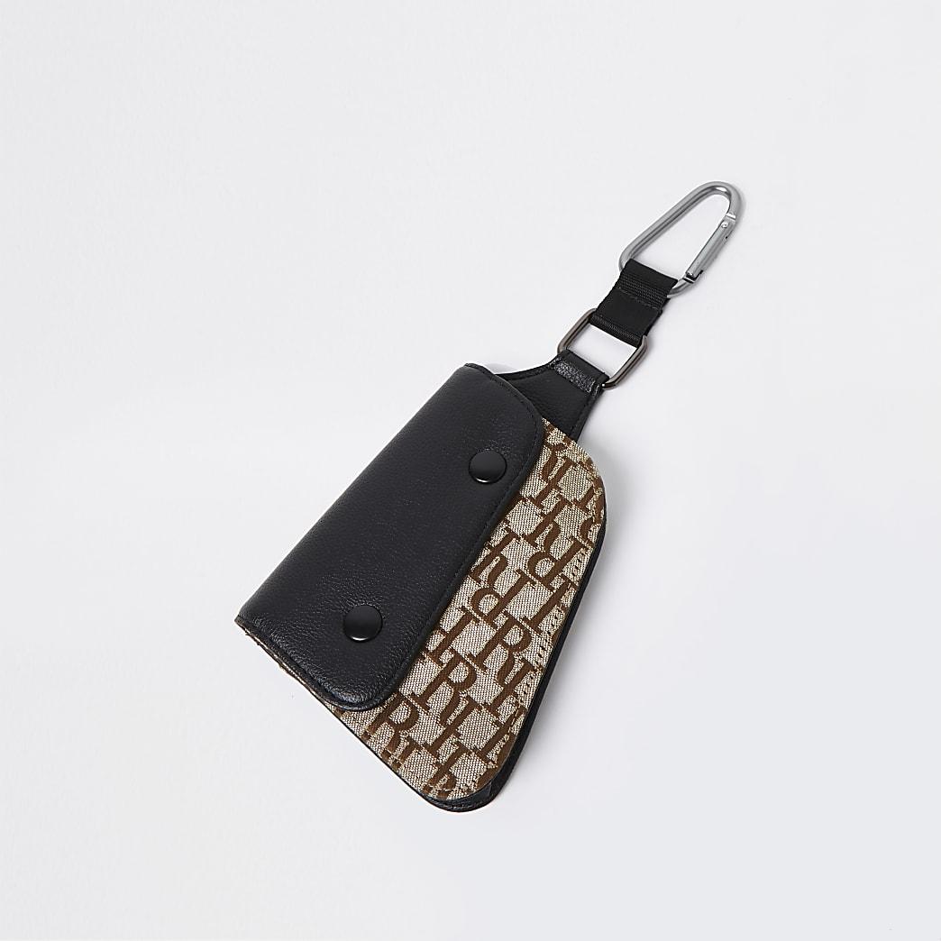 Brown jacquard saddle wallet