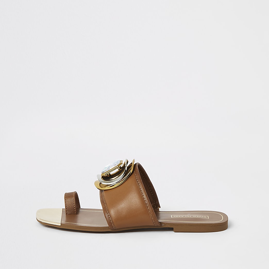 Brown jewel embellished toe loops sandals