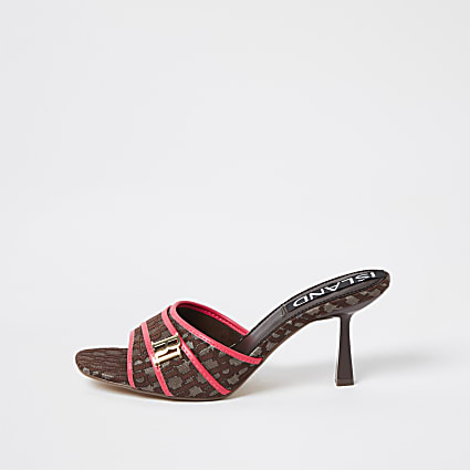 Brown kitten heel open toe vamp mules