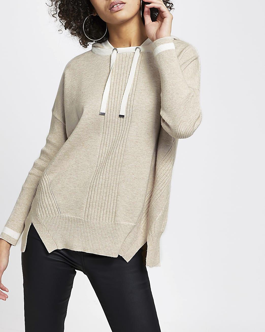 Brown knitted hooded hoodie
