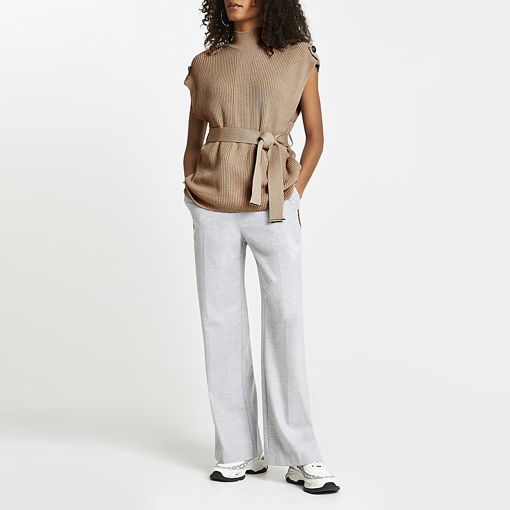 Brown knitted sleeveless belted jumper