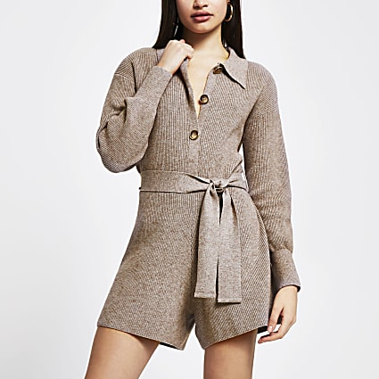 Brown knitted tie waist long sleeve playsuit