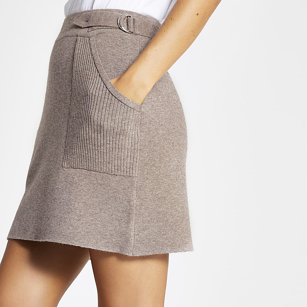 Brown knitted utility mini skirt