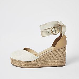 Sandales espadrilles compensées à lacets aux chevilles marron