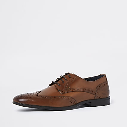 Brown lace up brogue derby shoes