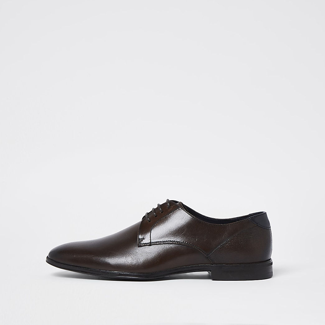 Brown lace up derby shoes
