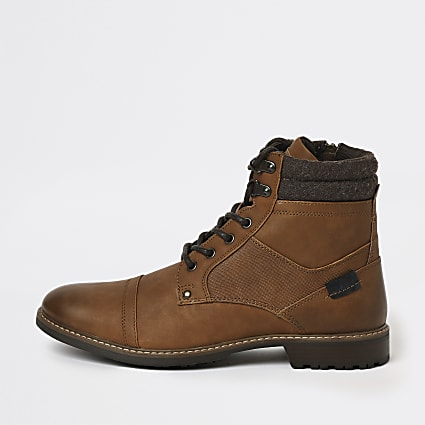 Brown lace up military boots