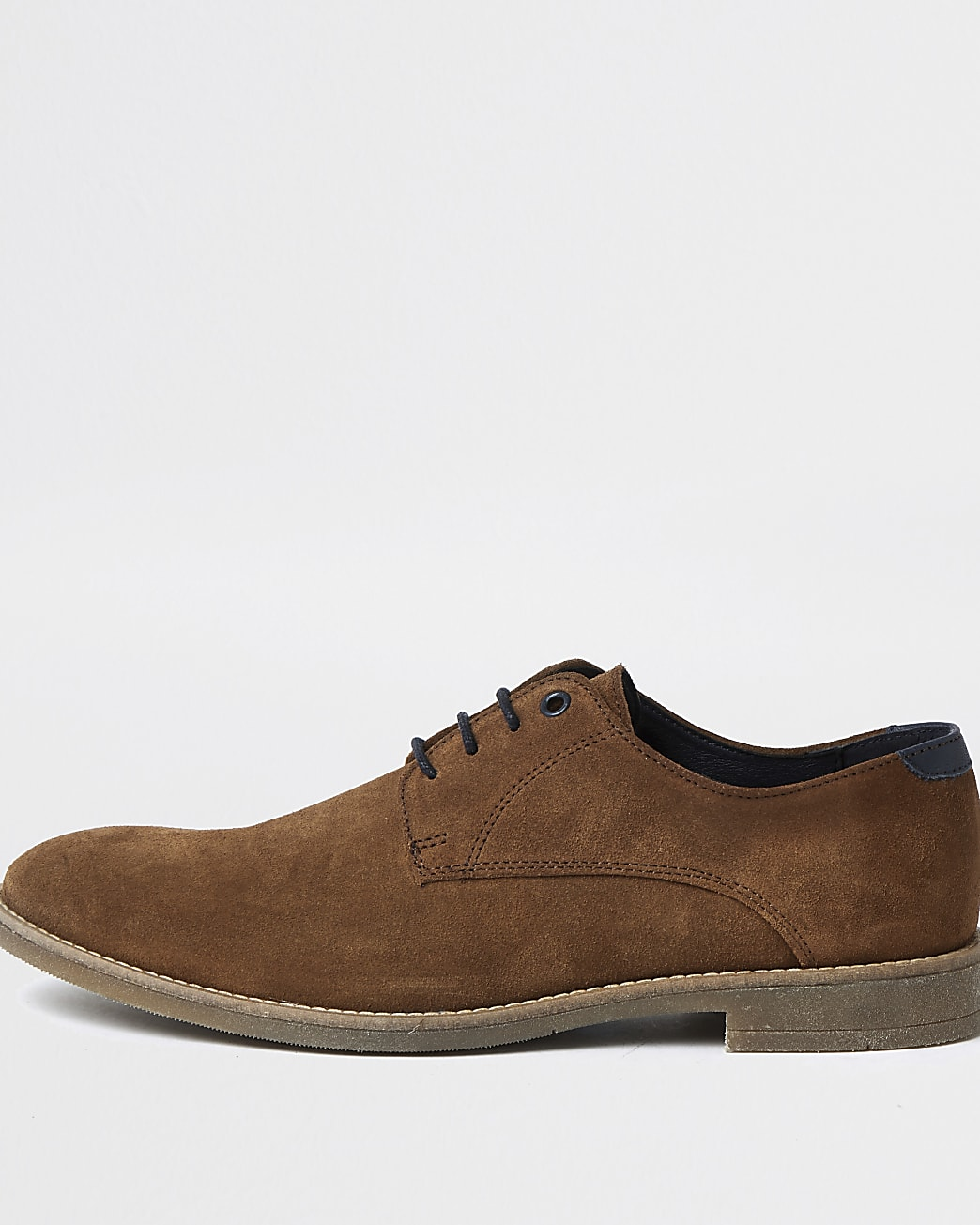 Brown lace up suede derby shoes