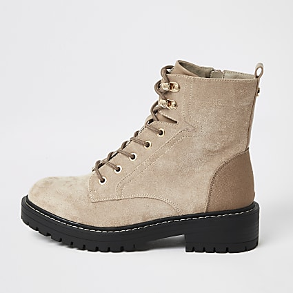 Brown lace-up wide fit chunky ankle boots