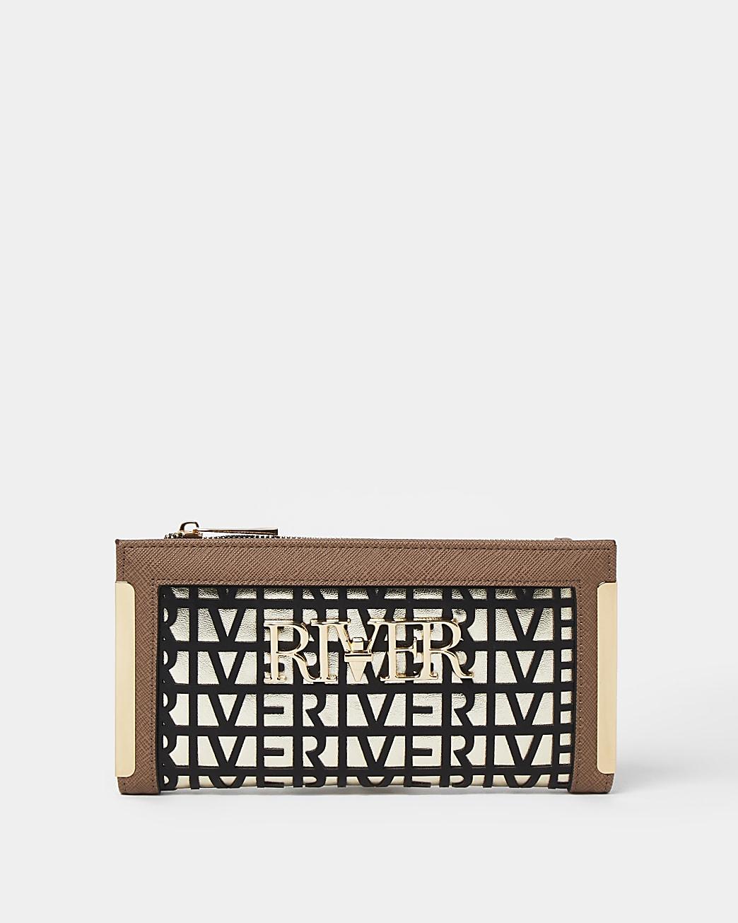 Brown laser cut purse