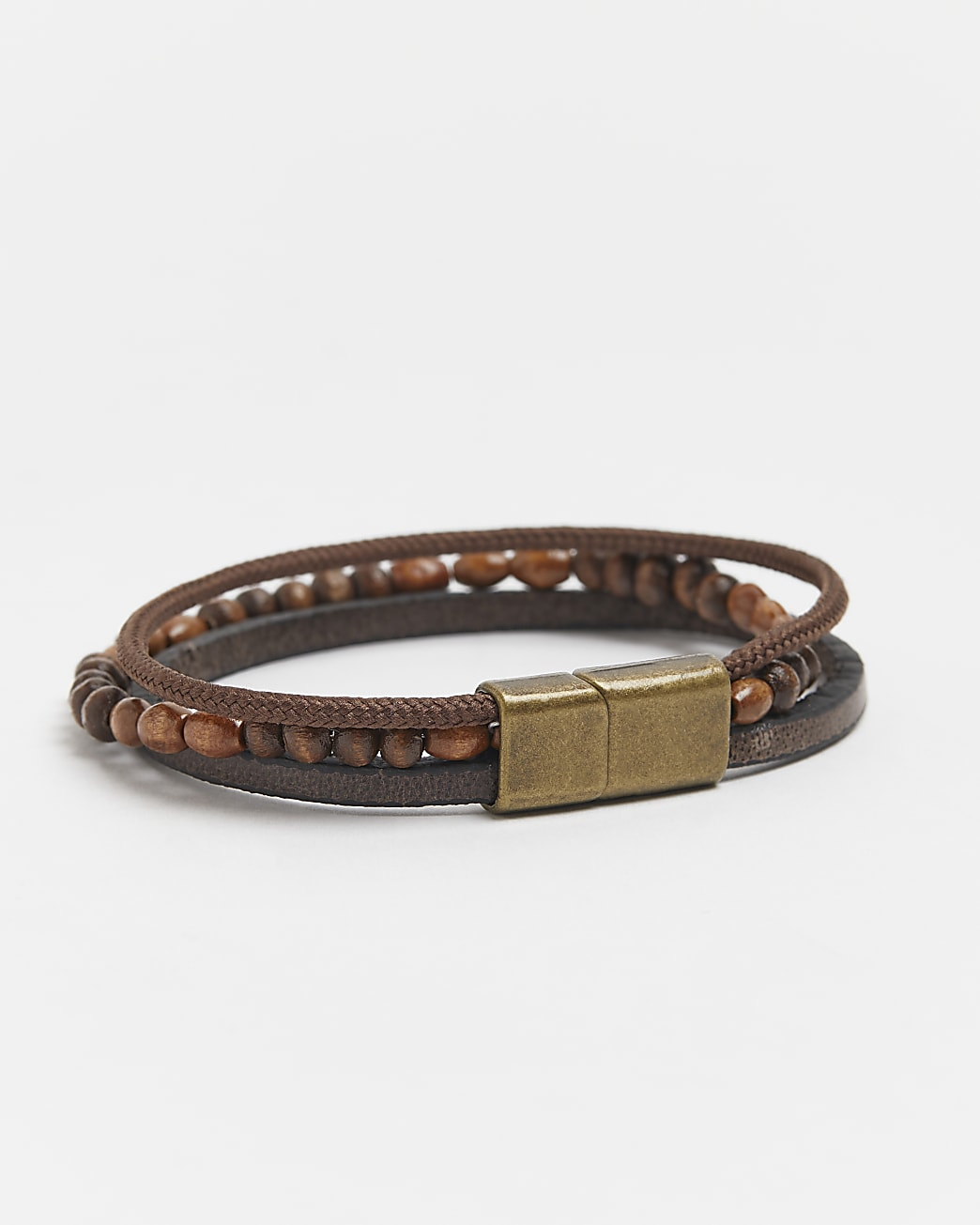 Brown leather beaded layered bracelet