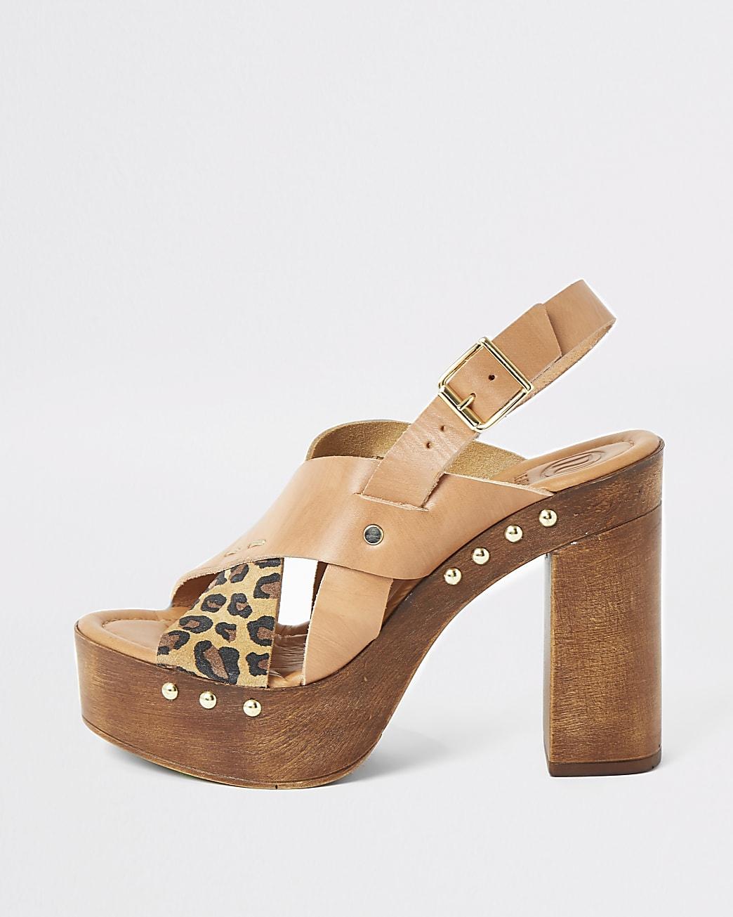 Brown leather cross over platform sandals