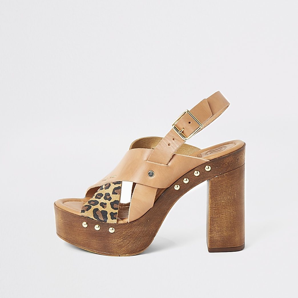 Brown leather cross over platform sandals