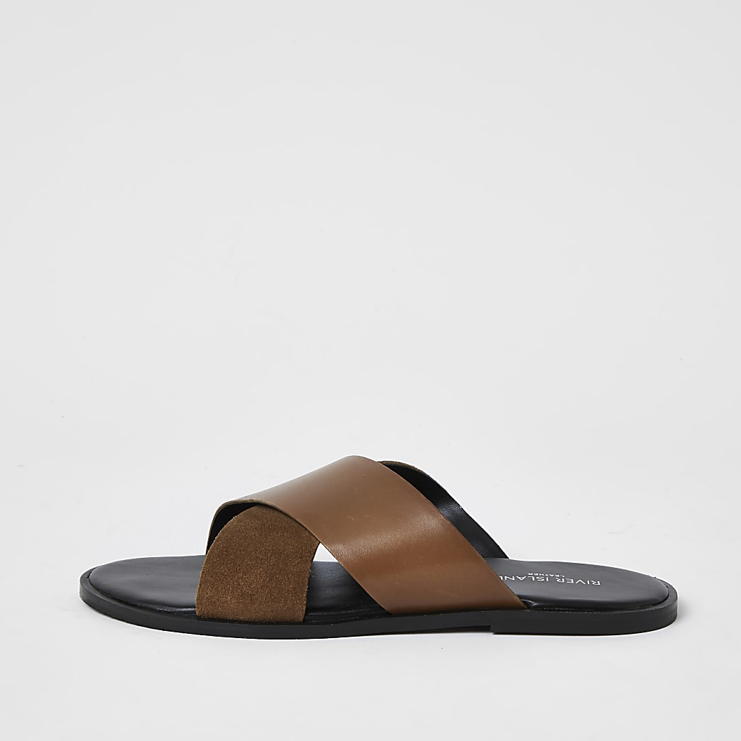 Brown leather cross over strap sandals