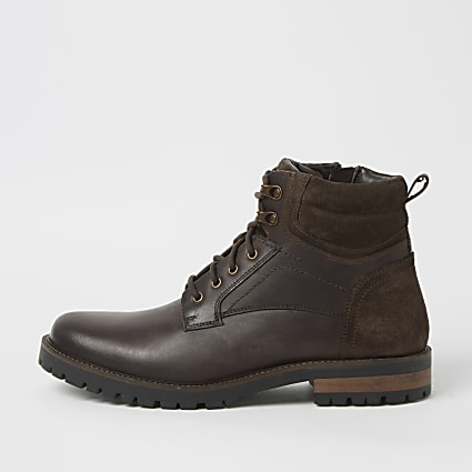 Brown leather distressed lace up boots