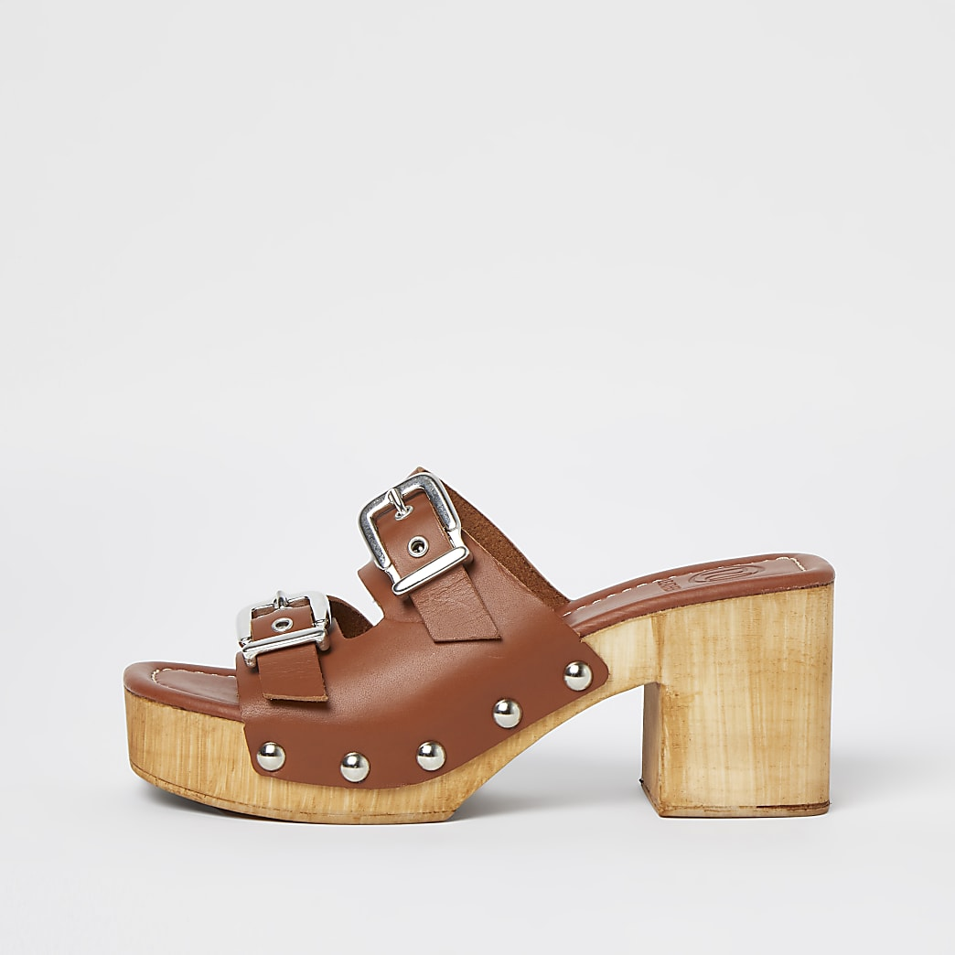 Brown leather double buckle studded mules