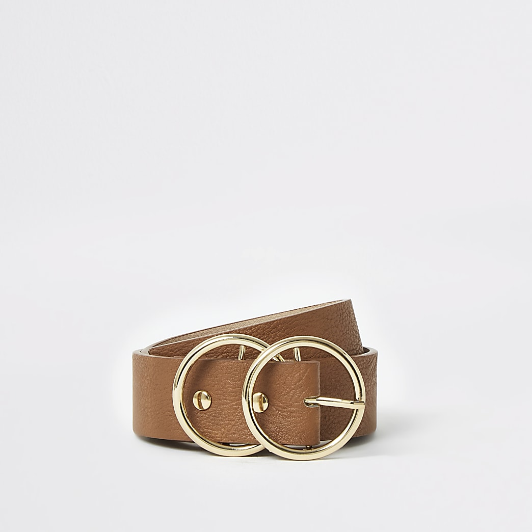 Brown leather double ring buckle belt