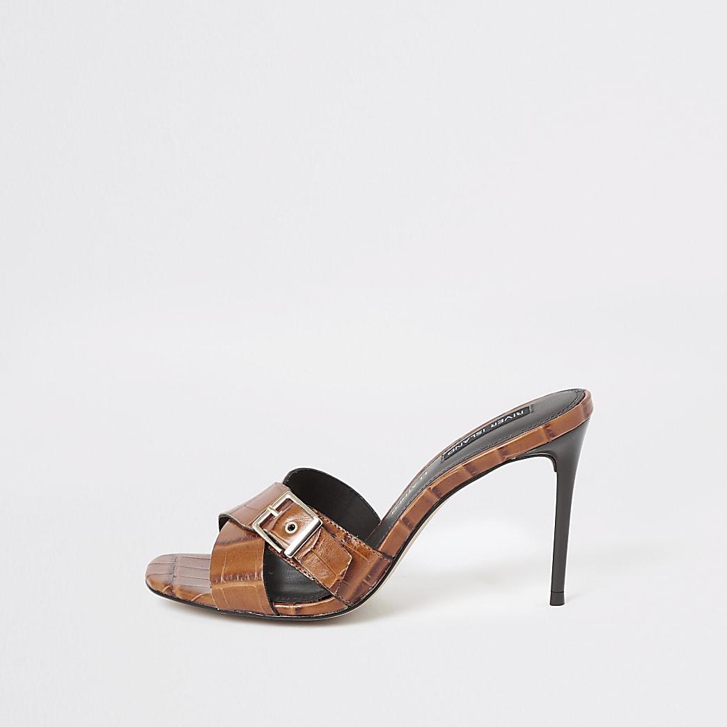 Brown leather heel mules