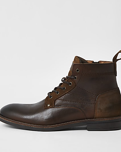 Brown leather lace up chukka boots