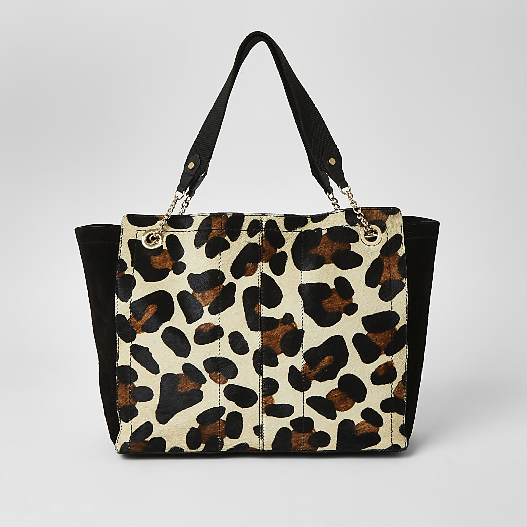 Brown leather leopard print shopper bag