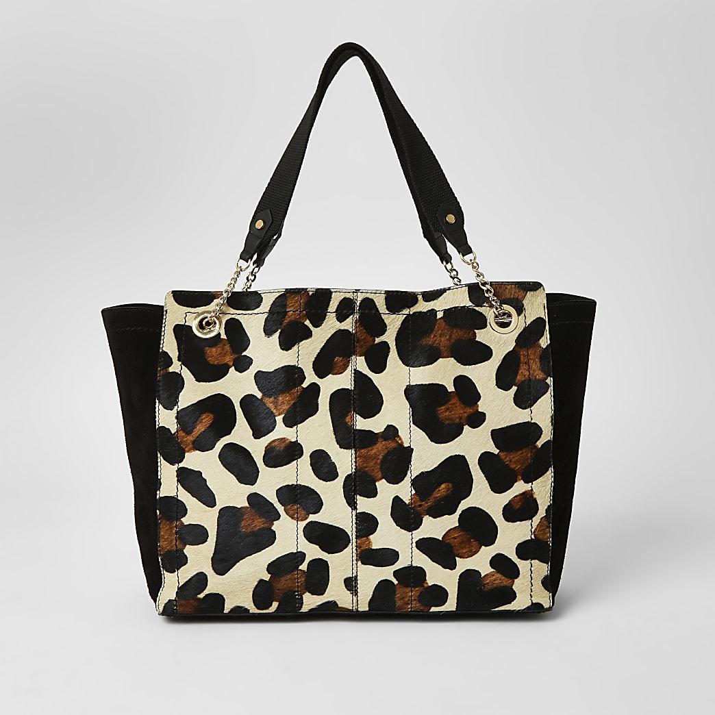 Brown leather leopard print soft shopper bag