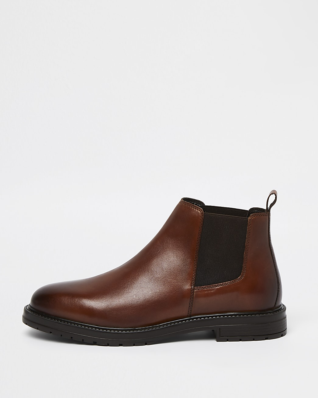 Brown leather low chelsea boots