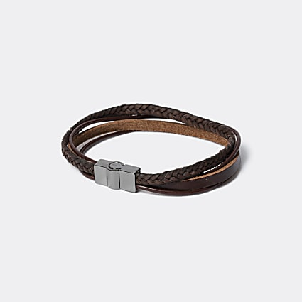 Brown leather magnetic wristband