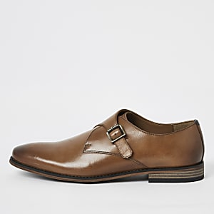 Brown leather monk strap shoes