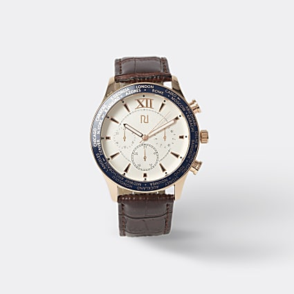 Brown leather rose gold face watch